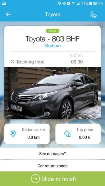 Rendiauto sulgemise app